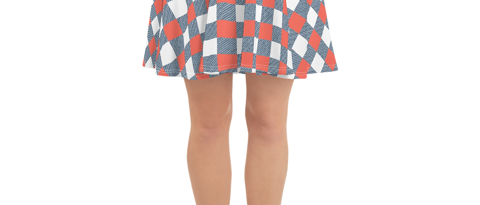 Coral Gingham Skater Skirt