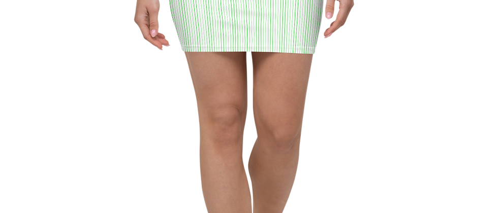 Green Pinstripe Mini Skirt