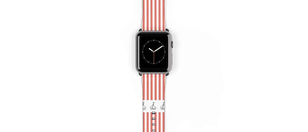 Simplistic Stripe Horizontal Coral Watch Band by Charles Tybee