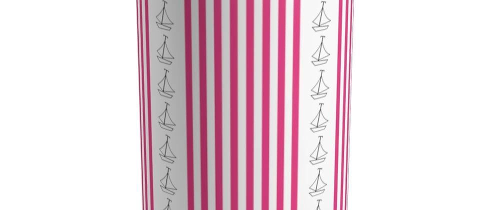 Simplistic Pink Vertical Stripe Tumbler by Charles Tybee