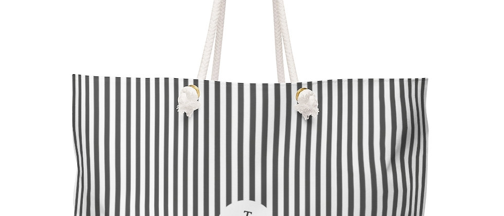 Black Stripe Weekender Bag by Charles Tybee