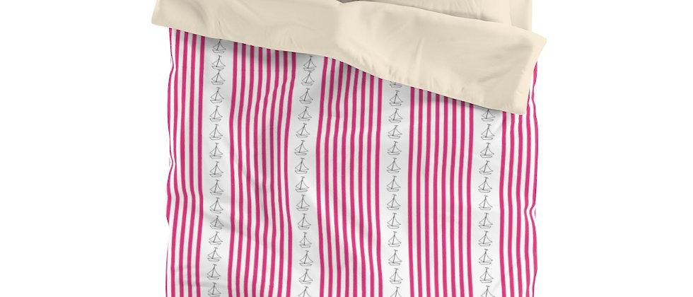 Simplistic Pink Vertical Stripe Microfiber Duvet Cover by Charles Tybee