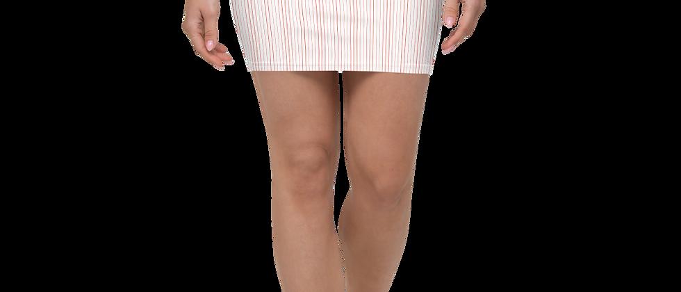 Coral Pinstripe Mini Skirt