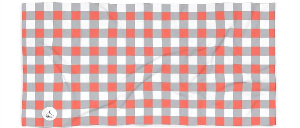 Gingham Coral Beach Towel by Charles Tybee