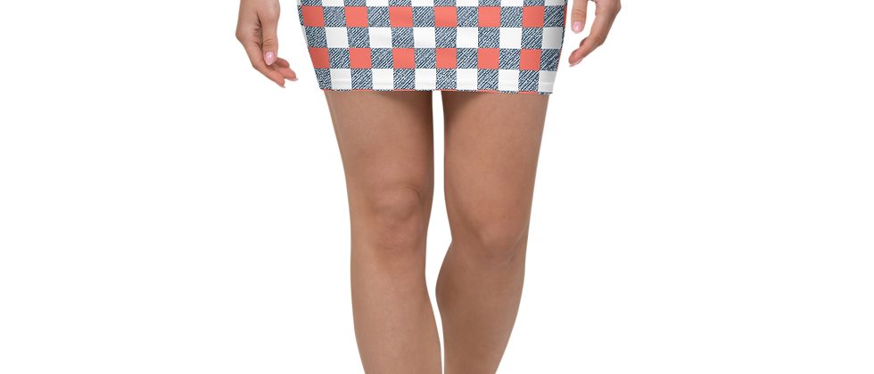 Coral Gingham Mini Skirt