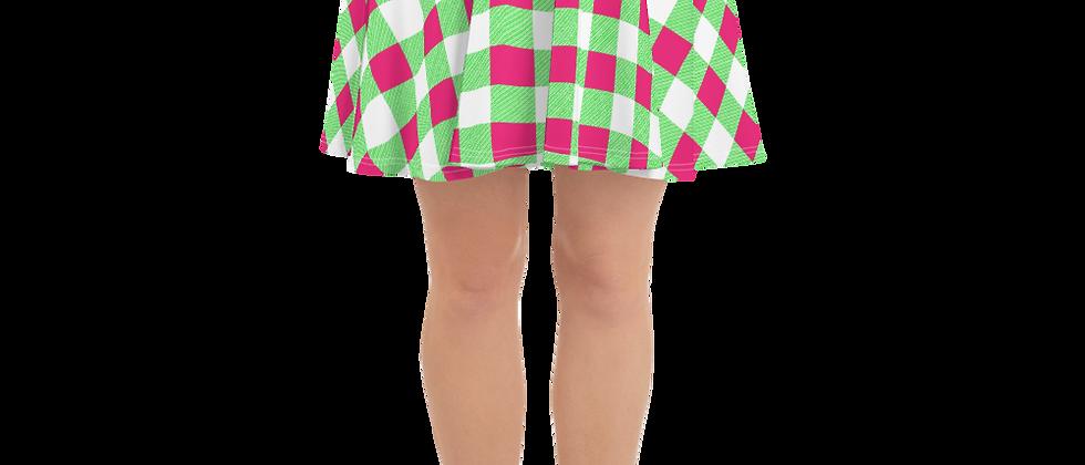 Lime Green Gingham Skater Skirt