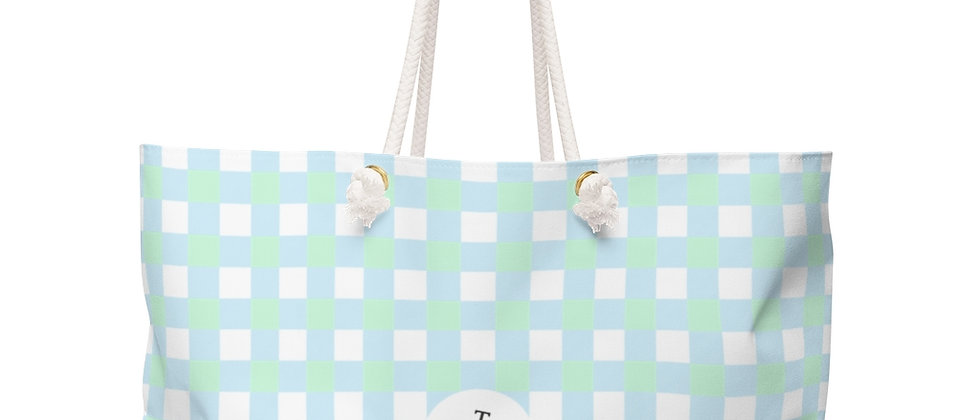 Gingham Blue Weekender Bag by Charles Tybee