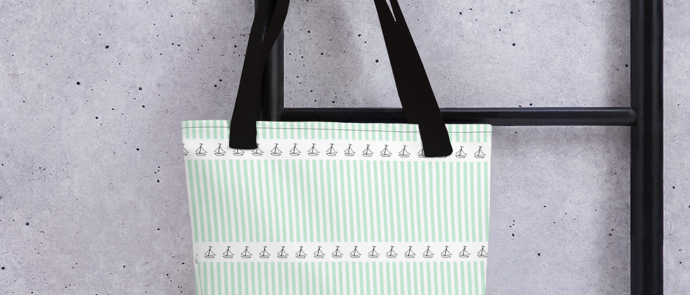 Green Horizontal Sailboat Tote bag
