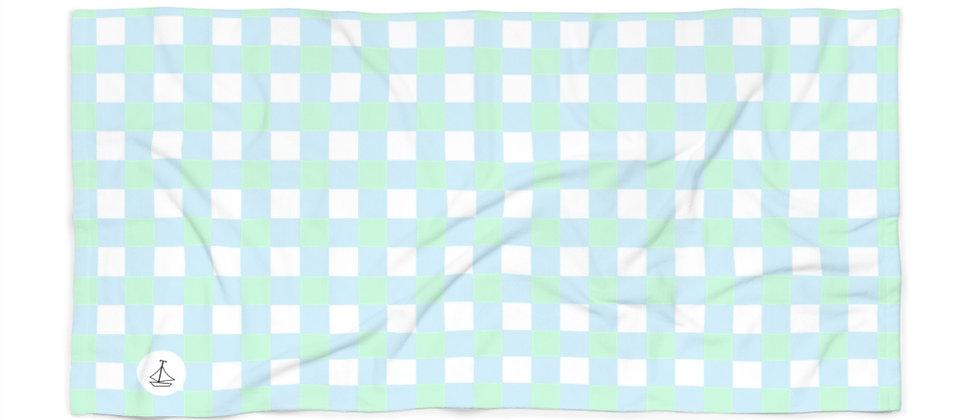 Gingham Blue Beach Towel by Charles Tybee