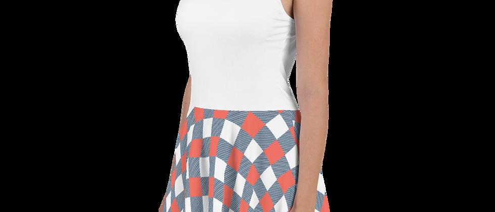 Coral Gingham Skater Dress