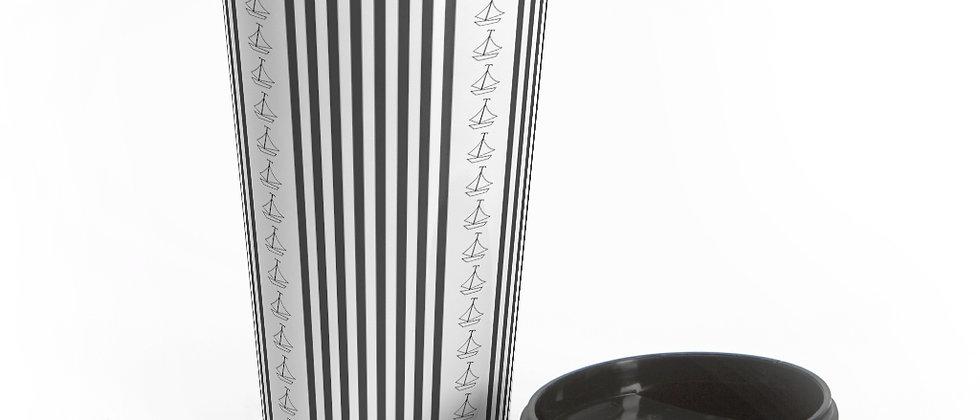 Simplistic Black Vertical Stripe Stainless Steel Travel Mug by Charles Tybee