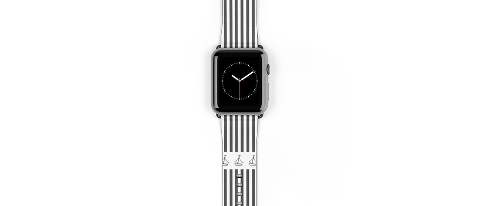 Simplistic Stripe Horizontal Black Watch Band by Charles Tybee