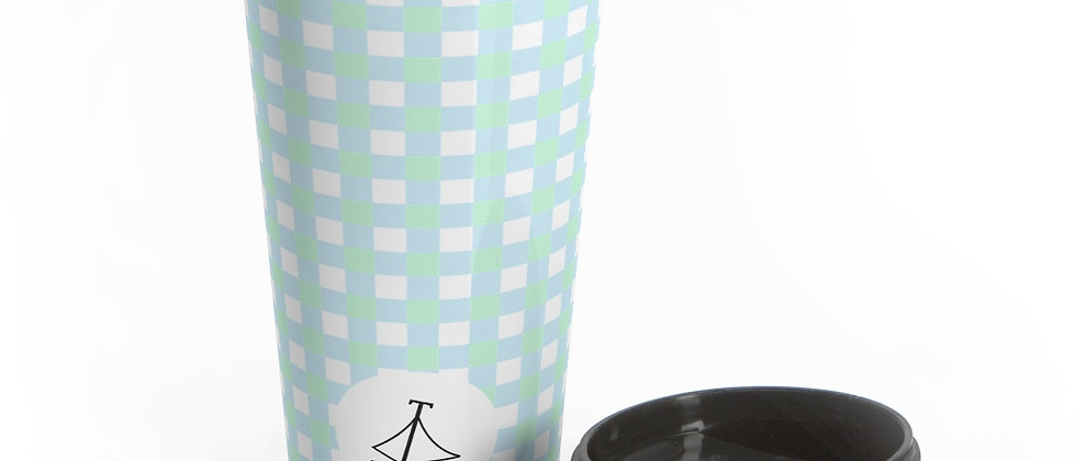 Gingham Blue Stainless Steel Travel Mug by Charles Tybee