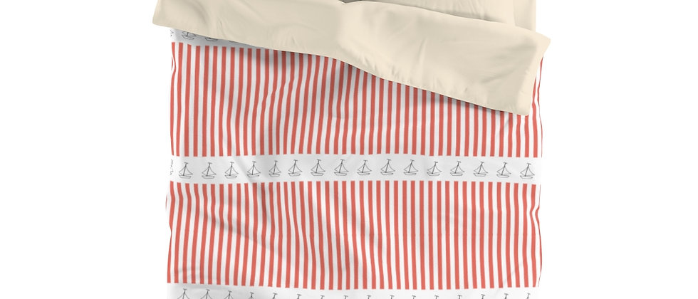 Simplistic Coral Horizontal Stripe Microfiber Duvet Cover by Charles Tybee