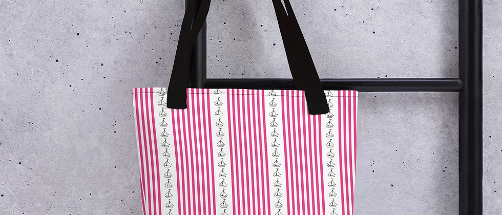 Pink Vertical Sailboat Tote bag