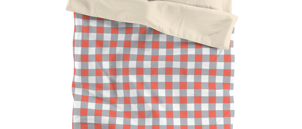 Gingham Coral Microfiber Duvet Cover by Charles Tybee