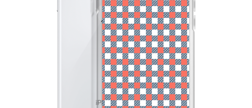 Coral Gingham iPhone Case