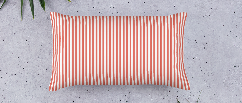 Coral Pinstripe Pillow