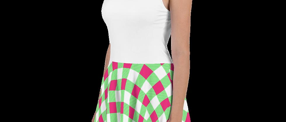 Lime Green Gingham Skater Dress
