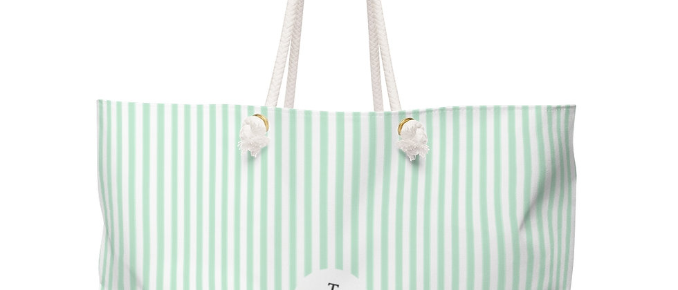Green Stripe Weekender Bag by Charles Tybee