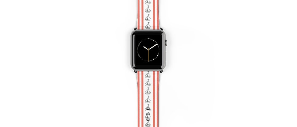 Simplistic Stripe Vertical Coral Watch Band by Charles Tybee
