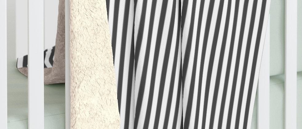 Black Stripe Sherpa Fleece Blanket by Charles Tybee