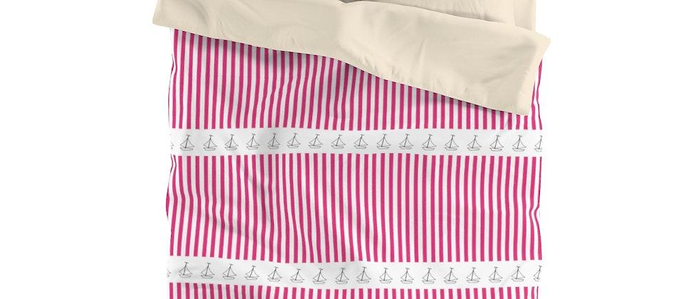 Simplistic Pink Horizontal Stripe Microfiber Duvet Cover by Charles Tybee