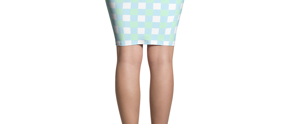 Remove from Wix Blue Gingham Pencil Skirt