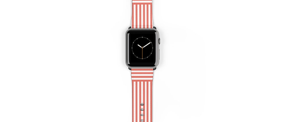 Stripe Criss Cross Coral Watch Band by Charles Tybee