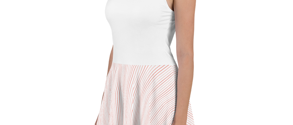Coral Pinstripe Skater Dress