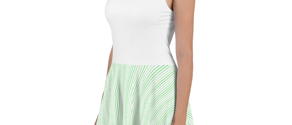 Green Pinstripe Skater Dress