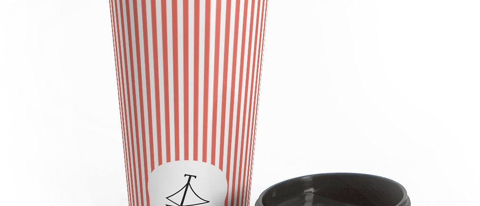 Coral Stripe Stainless Steel Travel Mug by Charles Tybee