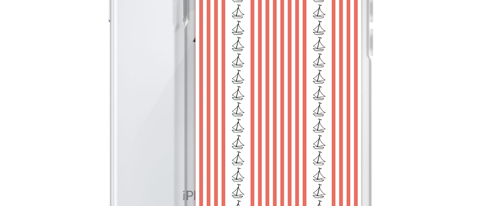 Coral Vertical Sailboat iPhone Case