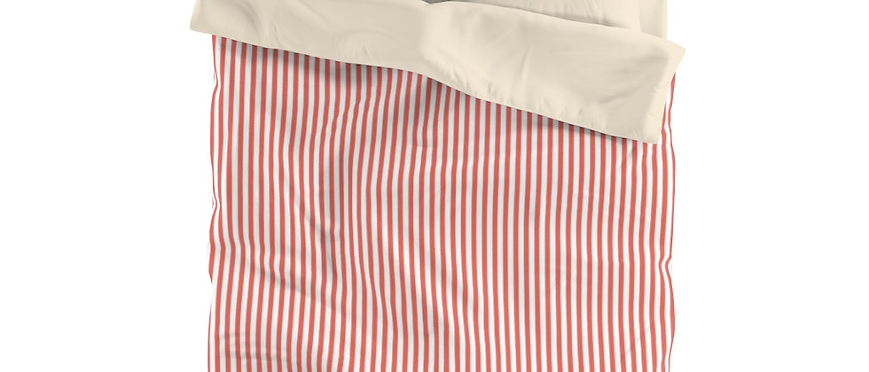 Coral Stripe Microfiber Duvet Cover by Charles Tybee