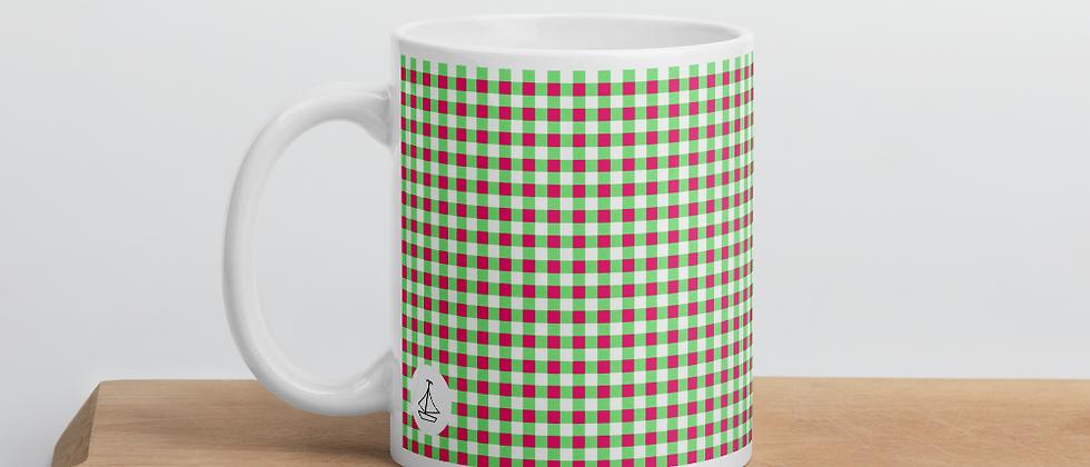 Lime Green Gingham Mug