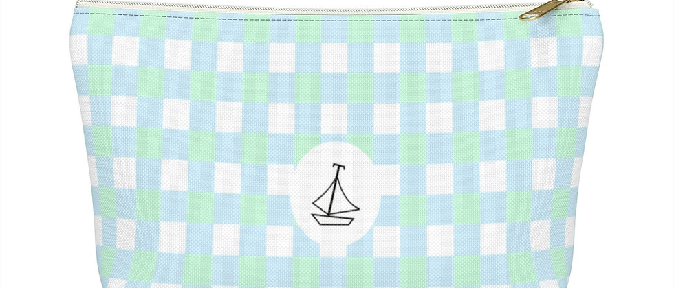 Gingham Blue Accessory Pouch w T-bottom by Charles Tybee