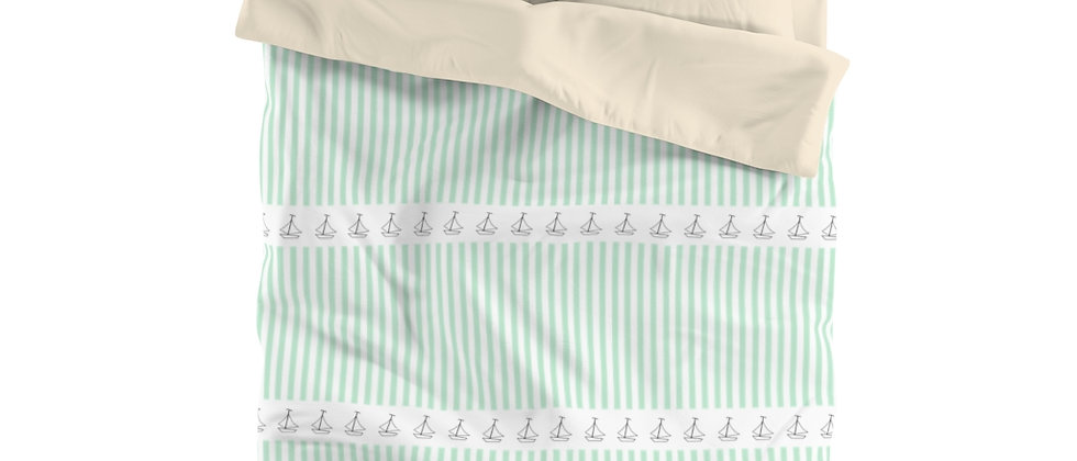 Simplistic Green Horizontal Stripe Microfiber Duvet Cover by Charles Tybee