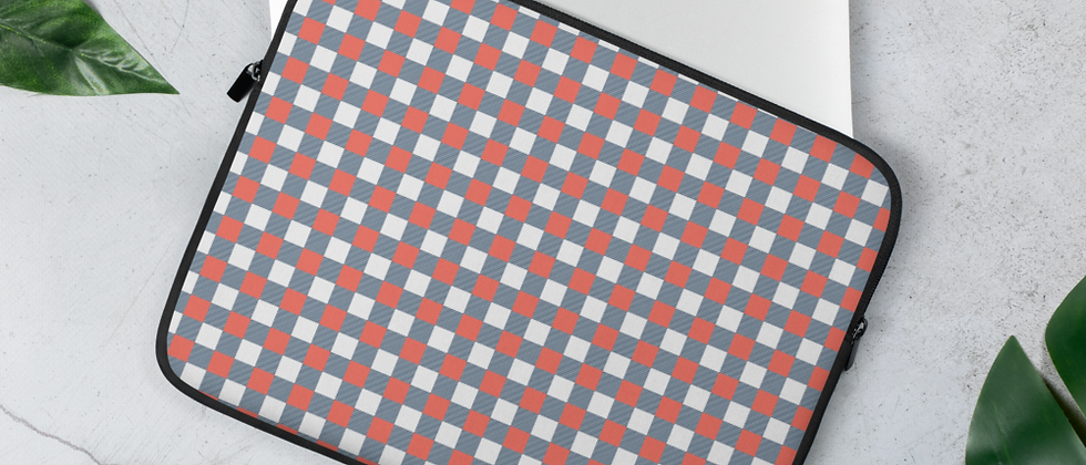 Coral Gingham Laptop Sleeve