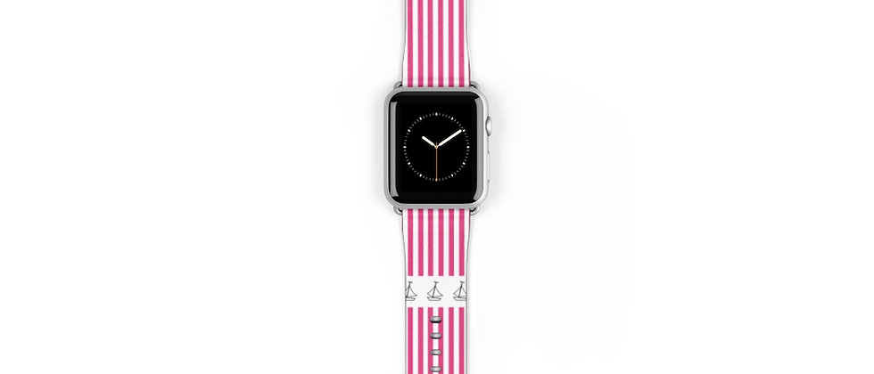 Simplistic Stripe Horizontal Pink Watch Band by Charles Tybee