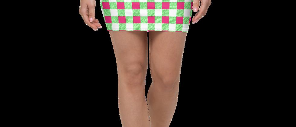 Lime Green Gingham Mini Skirt