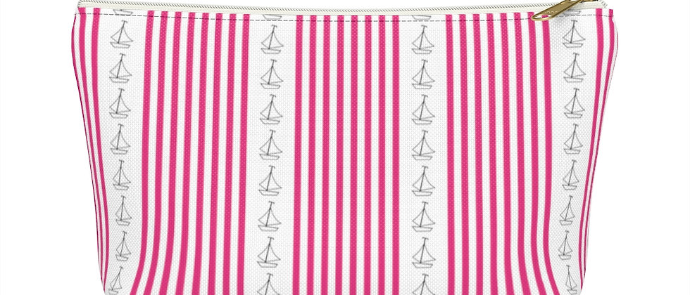Simplistic Pink Vertical Stripe Accessory Pouch with T-Bottom by Charles Tybee