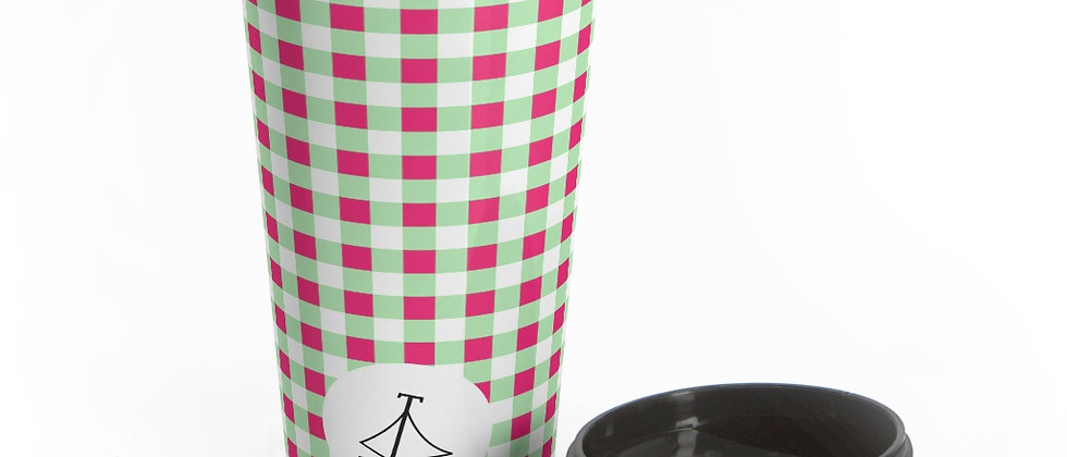 Gingham Lime Green Stainless Steel Travel Mug by Charles Tybee