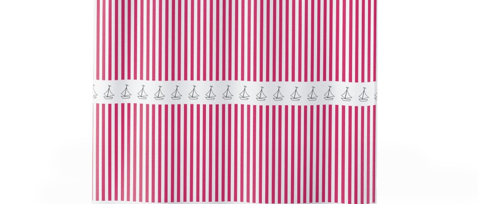 Simplistic Pink Horizontal Stripe Shower Curtain by Charles Tybee
