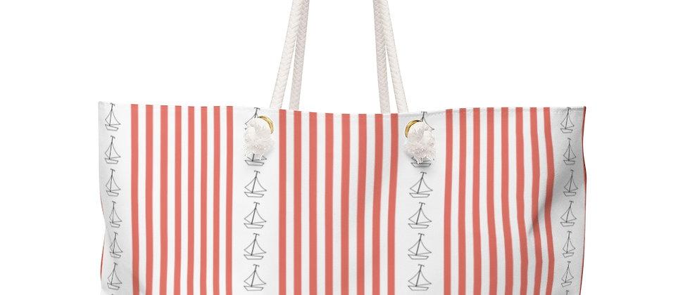 Simplistic Coral Vertical Stripe Weekender Bag by Charles Tybee