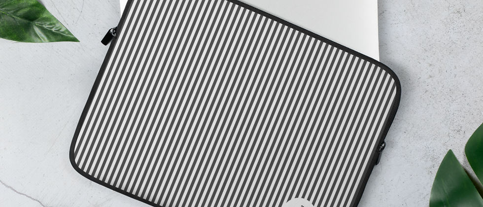 Black Pinstripe Laptop Sleeve