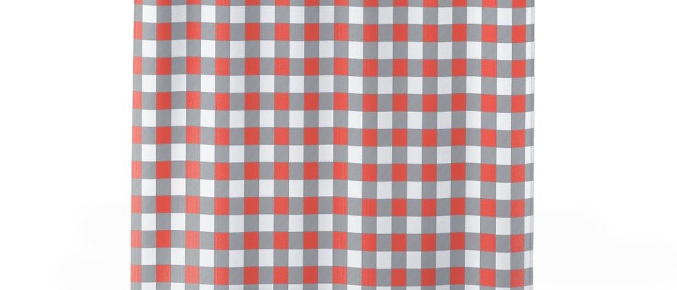 Gingham Coral Shower Curtain by Charles Tybee