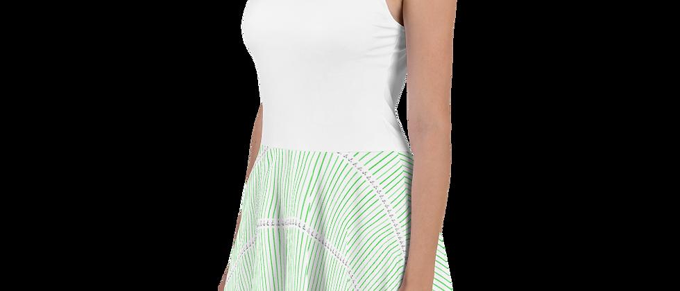 Green Horizontal Sailboat Skater Dress