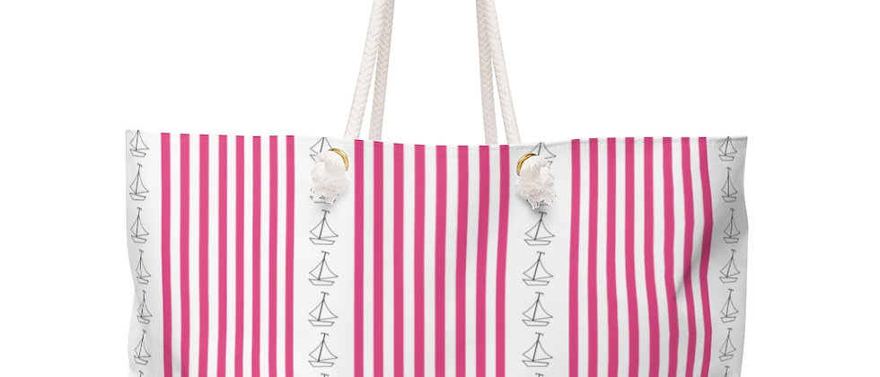 Simplistic Pink Vertical Stripe Weekender Bag by Charles Tybee