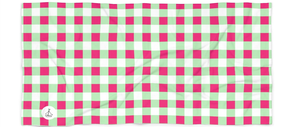 Gingham Lime Green Beach Towel by Charles Tybee