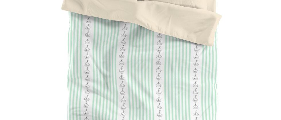 Simplistic Green Vertical Stripe Microfiber Duvet Cover by Charles Tybee